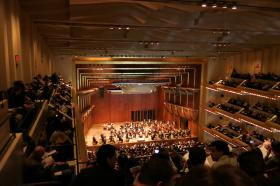 The New York Philharmonic in Avery Fisher Hall at Lincoln Center in New York City - the location of this week's broadcast concert.
