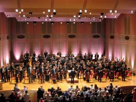 The Philadelphia Orchestra and Yannick Nézet-Séguin take a bow at the Academy of Music in Philadelphia.