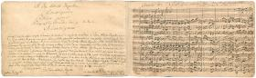 The dedication and first page of Bach's manuscript of the Brandenburg Concertos