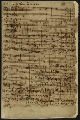 The first page of the Credo section of Bach's Mass in B minor. Scholars believe that parts of this section were Bach's last major original compositions, written in the last year of his life.