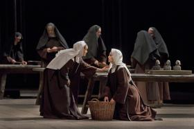 "Erin Morley as Constance and Isabel Leonard as Blanche  in Poulenc's ""Dialogue of the Carmelites"""