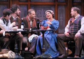 "Joseph Lim, Andrea Silvestrelli, Joseph Calleja, Anna Netrebko, and Lucas Meachem in ""La Boheme"" at the Lyric Opera of Chicago."