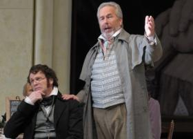"Bo Skovhus as Beckmesser and James Morris as Hans Sachs in Lyric Opera's production of ""Die Meistersinger von Nürnberg"""
