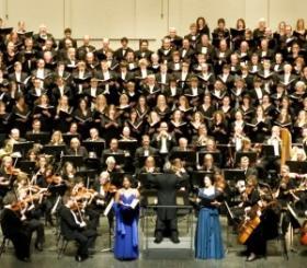 The Des Moines Symphony Orchestra, Drake Choir, and Drake University/Community Chorus performing Carmina Burana.
