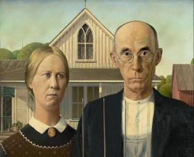 "Detail of ""American Gothic"" by Grant Wood."