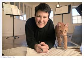 Pulitzer Prize-winning composer Jennifer Higdon and her cat Beau.