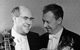 Mstislav Rostropovich and Benjamin Britten after a concert, November 1, 1964 (RIA Novosti archive, image #25562)