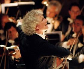 Sir Simon Rattle conducting the Berlin Philharmonic Orchestra in ''Das Rheingold'' by Richard Wagner