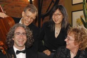 Red Cedar Chamber Music and friends: l to r, Carey Bostian, John Dowdall, Meira Kim, and Jan Boland.