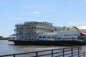 The Rhythm City casino floats on the Mississippi River near downtown Davenport.