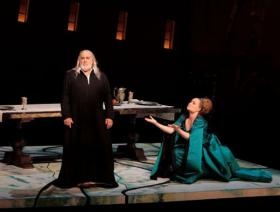 "Placido Domingo as Francesco Foscari and Marina Poplavskaya as Lucrezia Contarini in the LA Opera's ""The Two Foscaris."""