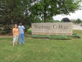 Adamu Muhammad and Dr. Ramona Bouzard at Wartburg College