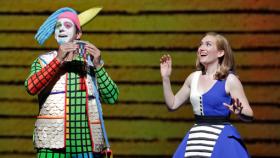 "Nathan Gunn as Papageno and Heidi Stober as Pamina in the San Francisco Opera's acclaimed ""Magic Flute."""