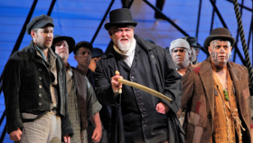 "Stephen Costello as Greenhorn (Ishmael), Jay Hunter Morris as Ahab, and Jonathan Lemalu as Queequeg in Jake Heggie's ""Moby-Dick"" at the San Francisco Opera."