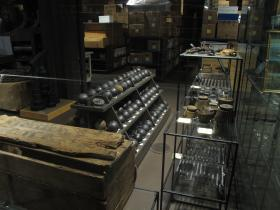 Cannon balls and other supplies that are being unboxed for the Steamboat Bertrand exhibit.
