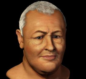 Bach without his wig, reconstructed by forensic anthropologist Carolyn Wilkinson from a cast of his skull.