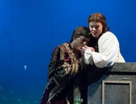 "Jason Slayden as Romeo and Sara Gartland as Juliet perform in Des Moines Metro Opera's production of Gounod's ""Romeo and Juliet"""