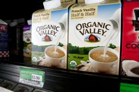 Dairy products from Organic Valley line the shelves of Gateway Market in Des Moines, Iowa.