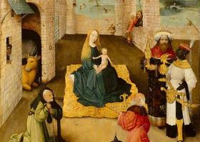 """A detail from the painting that inspired Gian Carlo Menotti's """"Amahl"""" - Hieronymus Bosch's """"The Adoration of the Magi."""""""