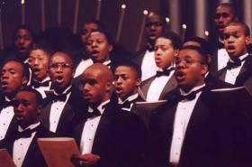 Members of the combined chorus of the Morehouse and Spelman College Glee Clubs