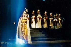 Janara Kellerman in the role of Amneris with the Cedar Rapids Opera Theatre, returning to their stage as the title role in Carmen.