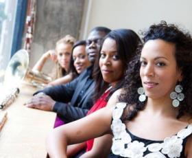 The Imani Winds (Valerie Coleman, flute; Toyin Spellman-Diaz, oboe;  Jeff Scott, French horn; Mariam Adam, clarinet; Monica Ellis, bassoon)