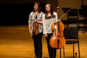 Less than a year ago Karla Dietmeyer and Olivia Hahn performed on this stage as seniors in Luther College's symphony orchestra.  They've returned as the modern folk duo The OK Factor during the 43rd Dorian Orchestra Festival.