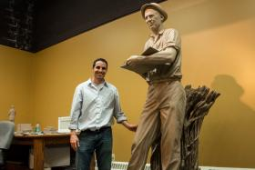 Benjamin Victor's clay sculpture of Norman Borlaug during a one week residency at the Iowa Historical Building in March 2013.  A bronzed version will be installed in the US Capitol's National Statuary Hall on the 100th anniversary of Borlaug's birth.