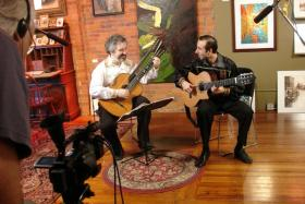 "Oleg Timofeyev and Vadim Kolpakov (""Zingaresca"") performing in conjunction with O Porrajmos Education Society in Cedar Rapids"