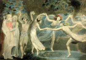 William Blake's 1786 painting of Oberon, Titania, and Puck - painted before Mendelssohn defined them musically!