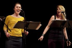 "Roomful of Teeth's Caroline Shaw and Virginia Warnken. Shaw's ""Partita,"" written for the group, won the 2013 Pulitzer Prize in music."