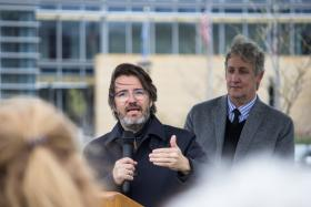 "Olafur Eliasson talks about his sculpture ""panoramic awareness pavilion"" with Des Moines Art Center director Jeff Fleming.  Eliasson is seeing his work in its permanent Iowa home for the first time at the Pappajohn Sculpture Park."