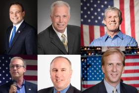 The GOP candidates in the 3rd District Congressional Primary. (top left to right) Matt Schultz, Joe Grandanette and Brad Zaun. (bottom left to right) David Young, Monte Shaw and Robert Cramer.