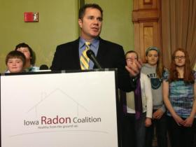 Democratic Congressman Bruce Braley speaks at the Iowa Statehouse on January 13, 2013. The next week Senator Tom Harkin annoucned he was retiring and Braley quickly entered the race.