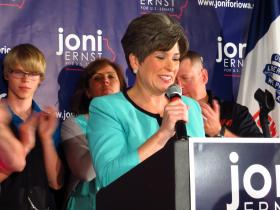 Joni Ernst makes her acceptance speech for the GOP US Senate nomination on June 3, 2014 at the Des Moines Social Club.