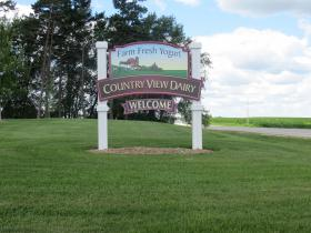 This sign along Highway 18 welcomes customers to Country View Dairy