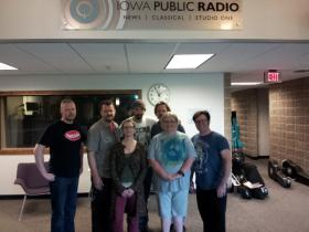 The Langers Ball at IPR studios in Cedar Falls. Back row, l to r: Lance Gams, Drew Miller, Michael Sturm, Phil Maass (IPR engineer), Danny McDermott.  Front row: Hannah Rediske, Karen Impola (host).
