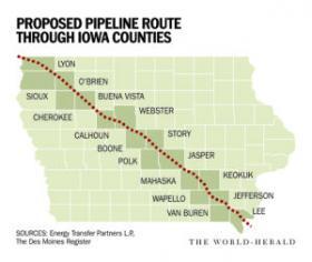 Map of proposed pipeline through Iowa.