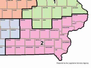 The map of the new second congressional district in Iowa.