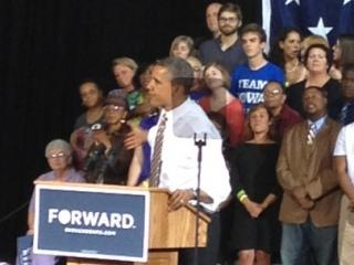 President Obama spoke to a crowd of about 2,500 supporters at the Iowa State Fair grounds in Des Moines.