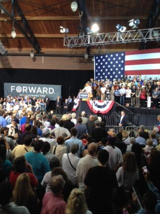 The President's speech at an exhibition hall at the fairgrounds focused on jobs and the economy.