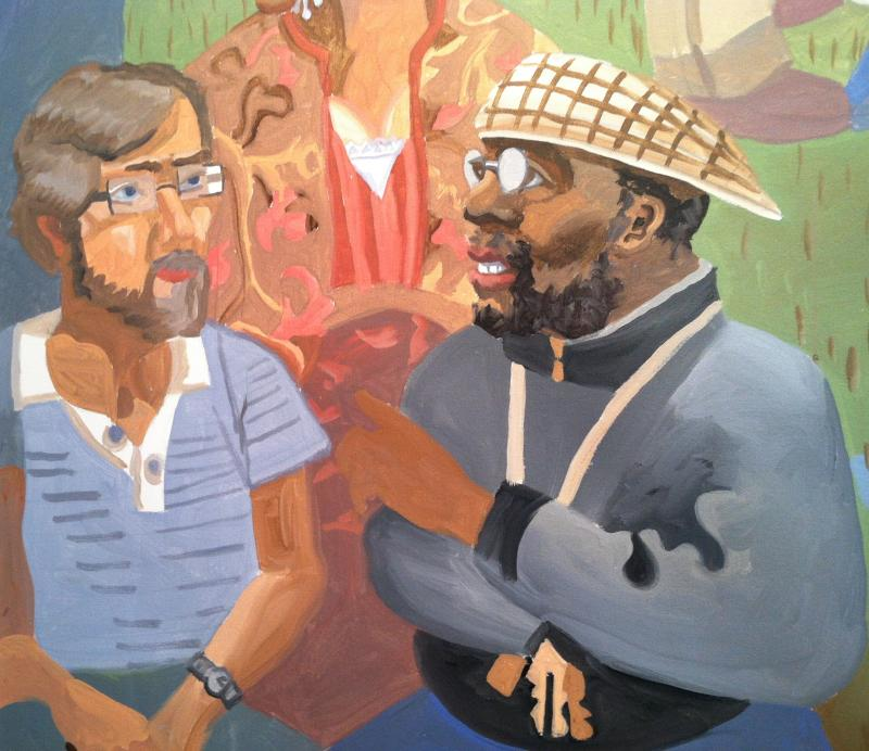 Painted version of Michael Petersen and Craig Taylor from the lower left corner of the 24 foot mural.