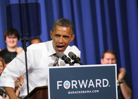 President Barack Obama campaigns at Kirkwood Community College in Cedar Rapids on July 10, 2012.