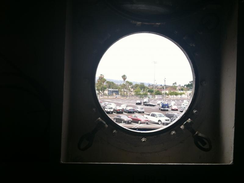 Looking out on the the Port of Los Angeles from the USS Iowa.