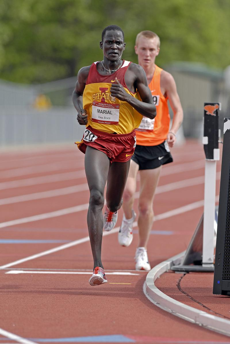 Former Iowa State University runner Guor Marial from South Sudan. Marial will compete in the Olympic marathon under the Olympic flag.