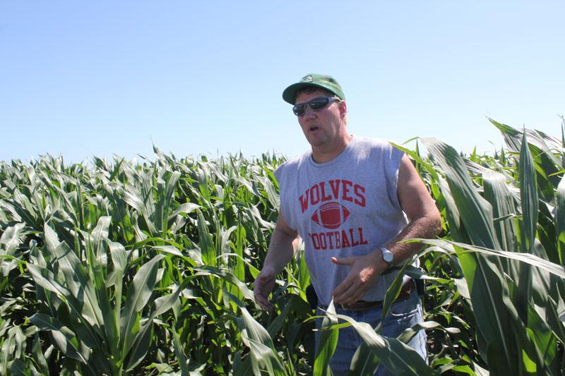 Marc Benson stands in one of his corn fields near Winfield, Iowa.
