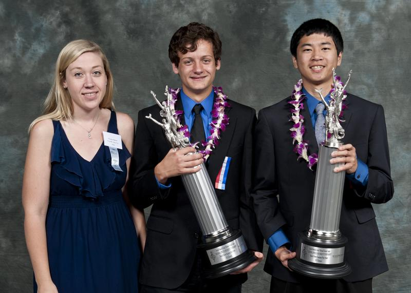 "West High School debaters Melanie Johson, Liam Hancock, and Jeffery Ding at the ""Tournament of Champions""."
