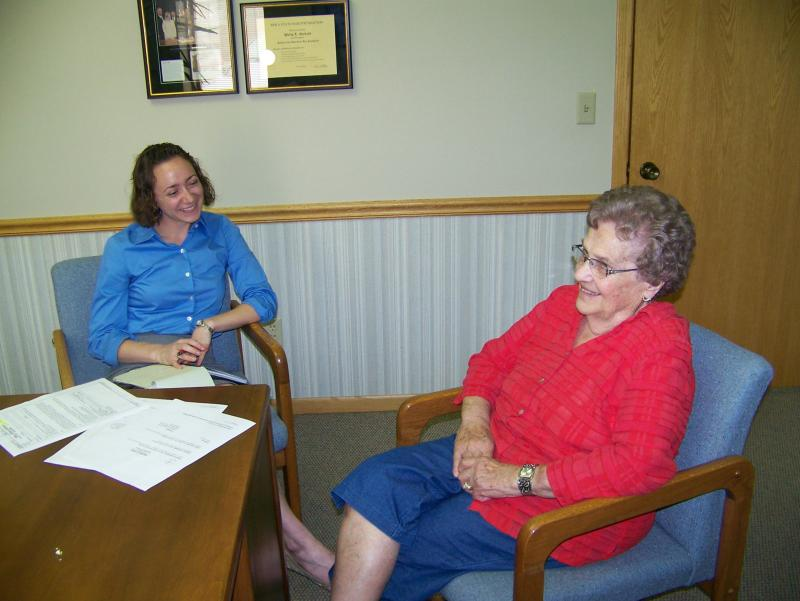 Kay Oskvig, left, just completed her first year of law school at the University of Iowa. This summer she's working with clients like Margaret Hayes, 83, at a law firm in Garner, Iowa.