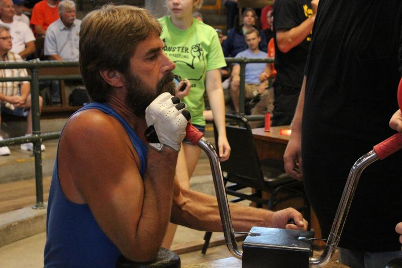 Bob Chance arm wrestles for the fifteenth year in a row at the Iowa State Fair