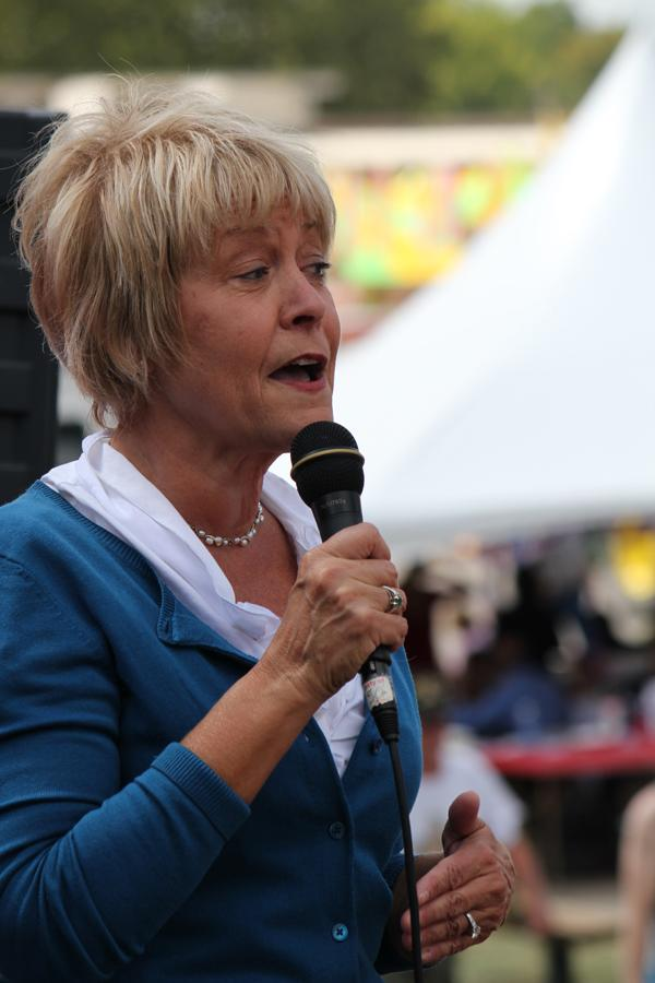 Former Iowa First Lady Christie Vilsack speaks at a political soapbox at the Iowa State Fair in Des Moines. Vilsack is running against incumbent Steve King in Iowa's newly drawn 4th district.
